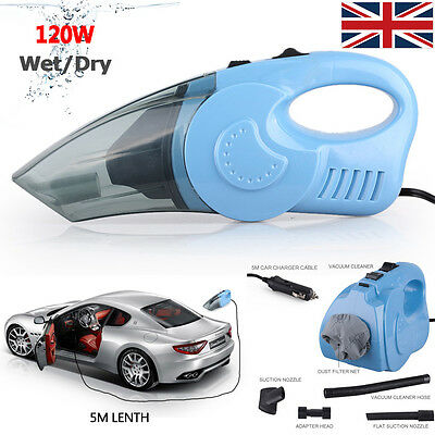 Power 120W 12V Handheld Wet & Dry Vacuum Cleaner Portable Rechargeable Car Home