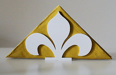 Fleur-De-Lis Flower Cut Out Floral Design Napkin Holder Stand White