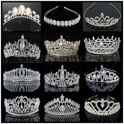 Princess Bridal Rhinestone Crystal Wedding Hair Tiara Crown Prom Veil Headband