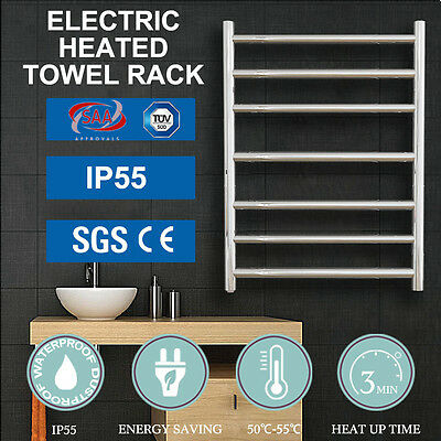 NEW Electric Heated Towel Rack Rail Square&Round Stainless Steel 5/7/9 Rungs