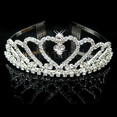 Wedding Bridal Bridesmaid Flower Girl Prom Heart Tiara Rhinestone Crystal Usa