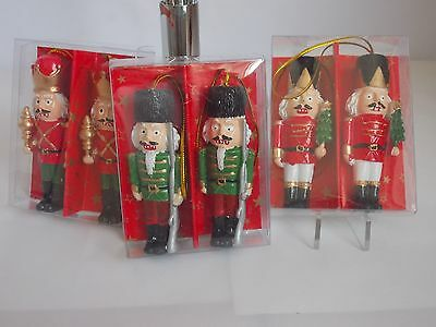 "Set Of 6 Resin 3"" Nutcracker Soldier Christmas Tree Decorations Boxed"