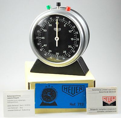 Heuer Industrie Stoppuhr REF:  713 mit Box/Papieren stopwatch with box/papers