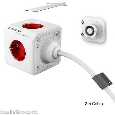 Allocacoc PowerCube Extended Power Socket DE Plug 5 Outlets 3m Cable Adapter