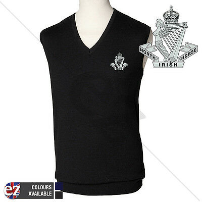 North Irish Horse - Short Sleeve V Neck Jumper with Embroidered Badge