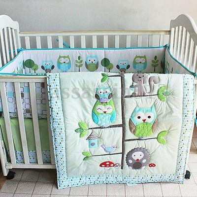 7PCS Baby Bedding Set Owl Family Nursery Quilt Bumper Sheet Soft Crib Skirt HOT
