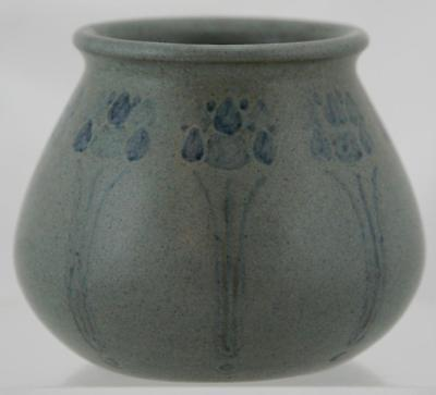 """MARBLEHEAD 3.5"""" x 4.5"""" DECORATED VASE TREES/BLOSSOMS IN GRAY/BLUE GLAZES MINT"""