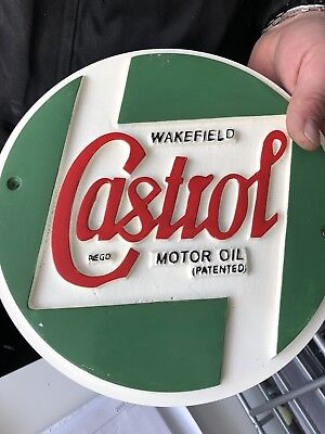 Vintage Castrol cast sign Castrol motor oil wakefield metal cast logo wall sign