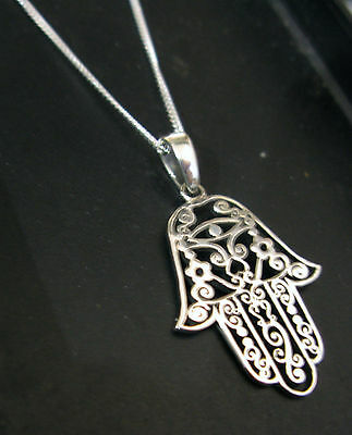 925 Silver HAMSA HAND on 18 inch Chain Necklace - Gift Boxed