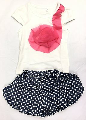 Spotty Navy Shorts and Girls Flower Top Set, 4-5 Yrs. FREE shipping within UK!
