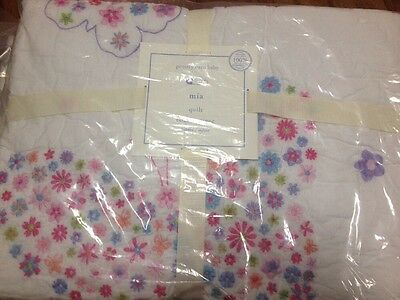Pottery Barn Kids Floral Embroidered MIA Crib/Toddler Quilt Butterfly Floral