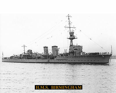 Royal Navy Cruiser Hms Birmingham Photograph  With Technical Sheet