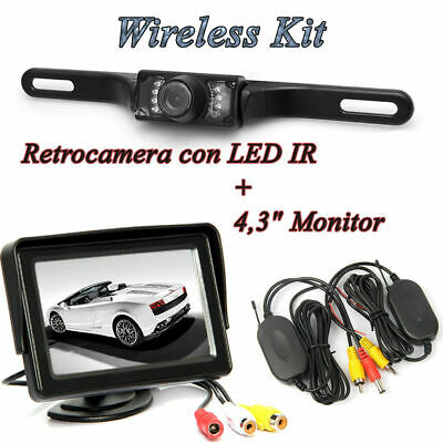 "4.3""TFT LCD Monitor Retromarcia Auto+Portatarga Telecamera 7 Led IR Wireless Kit"