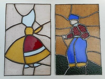 """Pair Of Mid Century Leaded stained glass window Dutch Boy & Girl 7"""" X 11"""""""