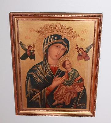 """Old Vintage Our Mother of Perpetual Help Madonna Child  9"""" x 12"""" Shabby Cottage"""