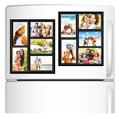 2 Pack Magnetic Picture Collage Frame for Refrigerator Black Holds 5 ...