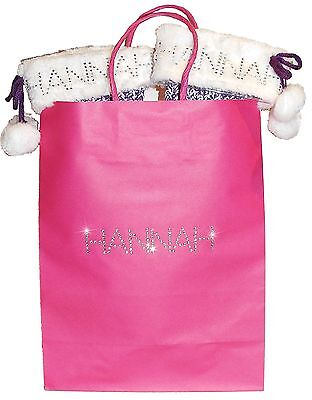 Personalised Slippers in a Gift Bag! faux fur Diamante Socks Grip Pink Purple