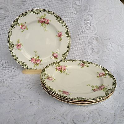 4 Royal Crown Staffordshire 7 inch Plates Green/Gold Band Roses 1906-1930 (983)