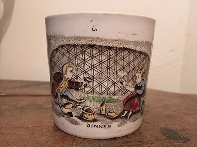 "RARE Antique English Child's Transferware Mug ""Dinner"""