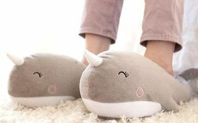 Nari Narwhal USB Heated Plush Slippers By Smoko One Size Fits Most