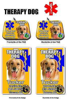 Service THERAPY DOG Medical Symbol tag ID Card combo pet dog tag customized ylw