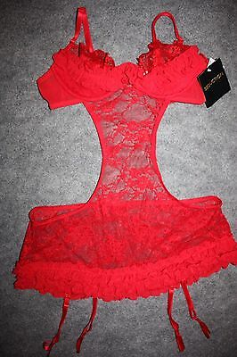 Frederick's of Hollywood Seduction Sheer Red SEXY Lace Skirt  Babydoll Teddy L