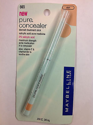 Maybelline Pure Concealer Blemish Treatment .665 DARK NEW. Pack of 2
