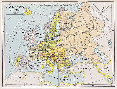 1955 Antique Map of Europe in 1912