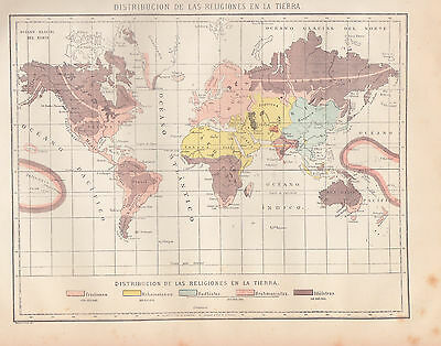 1912 Antique World Map of Religion Distribution