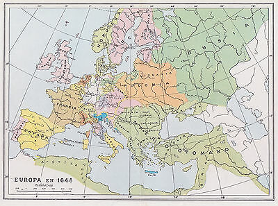 1955 Antique Map of Europe in 1648
