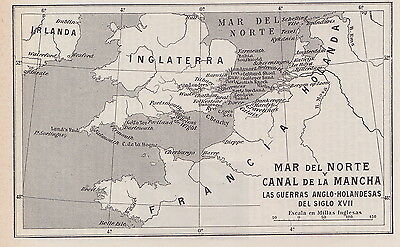 1955 Antique Map of the English Channel