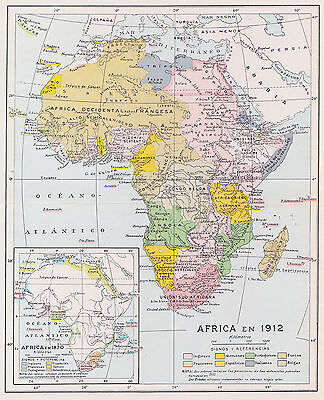 1955 Antique Map of Africa in 1912