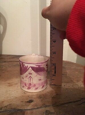Staffordshire Antique Child's Mug Pink Luster House NICE!