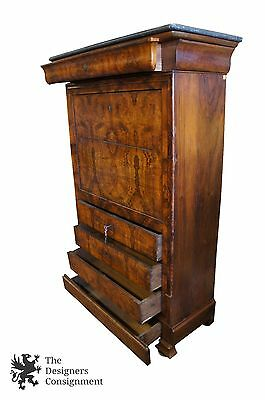 Original Antique Biedermeier Secretary Walnut W/ Birdseye Maple Writing Desk