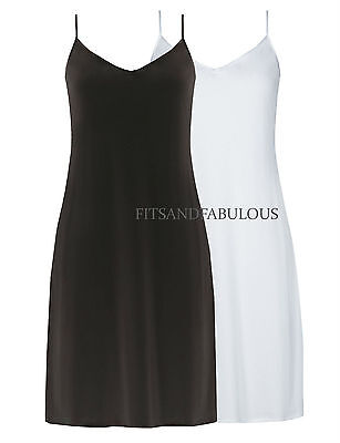 NEW M*S  Black White V-Neck Strappy Full Slip Satin Trim Underskirt Sizes 10-22