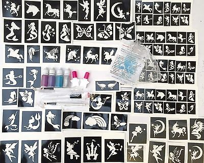 GLITTER TATTOO KIT Mystical 156 Stencils Fairies Mermaids Unicorns Glitter Glue