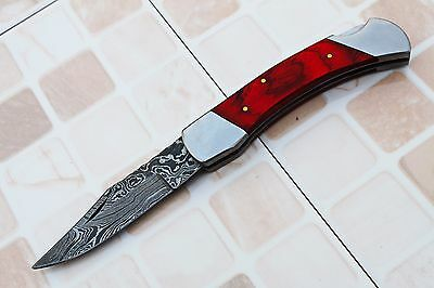 DAMASCUS CUSTOM HANDMADE FOLDING  KNIFE w/ LOCK BACK, FILE-WORK,BOLSTERS,AB49-15