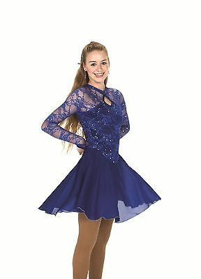 Royal Blue Lace Ice Dance Dancing Long Sleeve Figure Skating Dress Dresses  #253