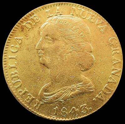 1843 Um Gold Colombia 16 Pesos Coin Popayan Mint Xf Details (Cleaned)