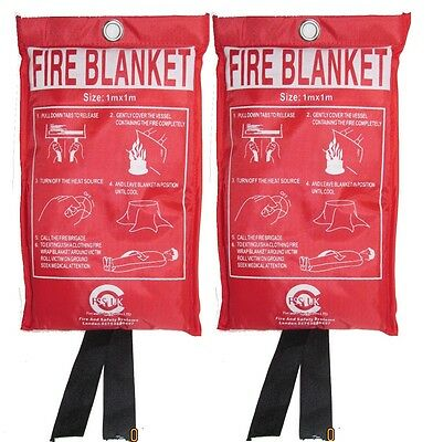 2 x Fire Blanket 1m x 1m  for Home Office Kitchen. CE MARKED