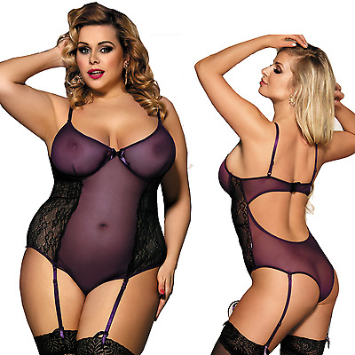 Sexy Plus Size Suspender Teddy Set Women's Plus Size Lingerie Sizes 10-22 | C200