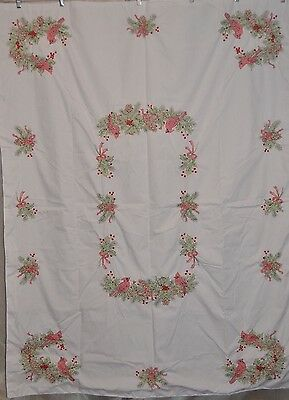 "Handmade Cross Stitch Christmas Tablecloth Red 52"" x 70"" Finished and Backed"