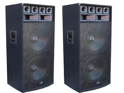 "2 x BRAND NEW AMERICAN BOSS 18"" TWIN PA/DJ SPEAKERS 1200W MAX PASSIVE"