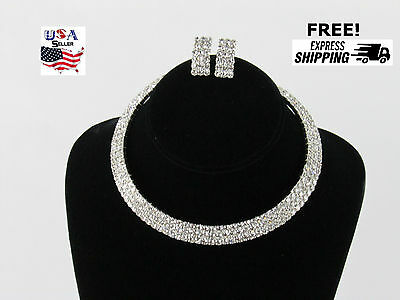 New Rhinestone Crystal Necklace Earring Jewelry Set Wedding Bridal Prom Quince