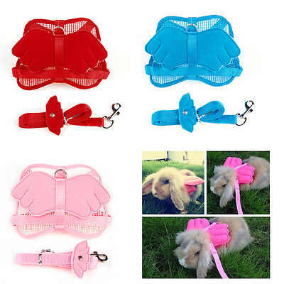 Cute Adjustable Pet Angle Wing Rabbit Ferret Pig Harness Nylon Leash Lead Strap