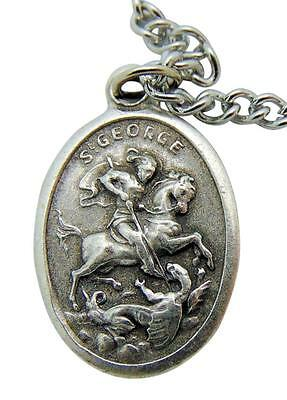 """St George Patron Saint Medal 3//4/""""L Pendant with Stainless Steel Chain from Italy"""