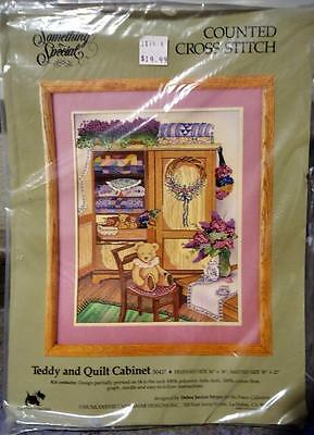 """Nip Vintage Something Special """"teddy & Quilt Cabinet Cross Stitch"""" Sealed Kit"""