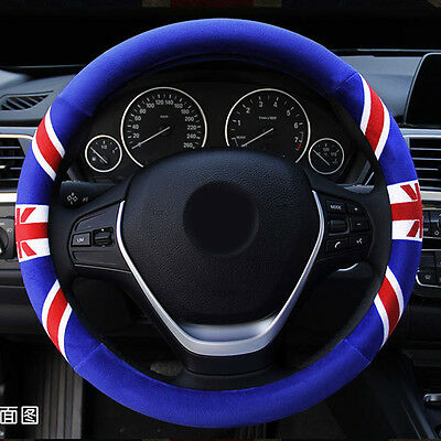 Blue Odorless UK Flag Soft Winter Warm Plush Car Steering Wheel Cover Glove 15""
