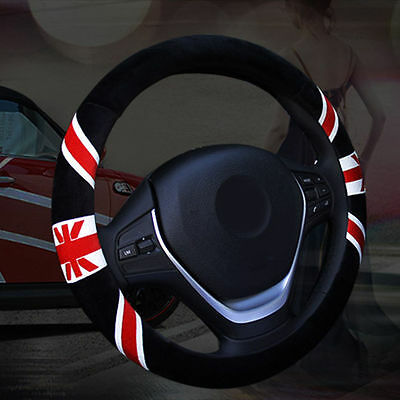 Black Odorless UK Flag Soft Winter Warm Plush Car Steering Wheel Cover 15""