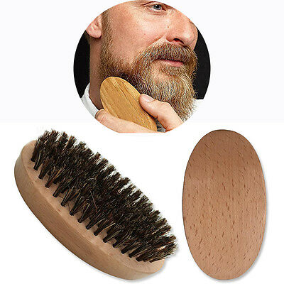 Natural Boar Bristle Beard Men's Mustache Brush Military Round Wood Handle Comb